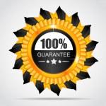 Yellow label. 100% Guarantee — Stock vektor