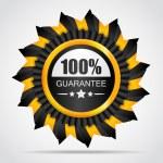 Yellow label. 100% Guarantee — Stockvector