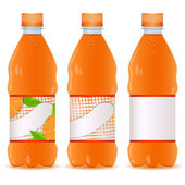 Set of bottles with orange liquid — Stock Vector