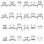 Set of faces with various emotion expressions — Stock Vector