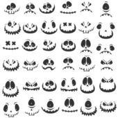 Big set amusing physiognomies — Stock Vector