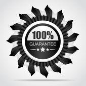 Black label. 100% Guarantee — Stock Vector