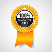 Black & Yellow label. 100% Guarantee — Stock Vector