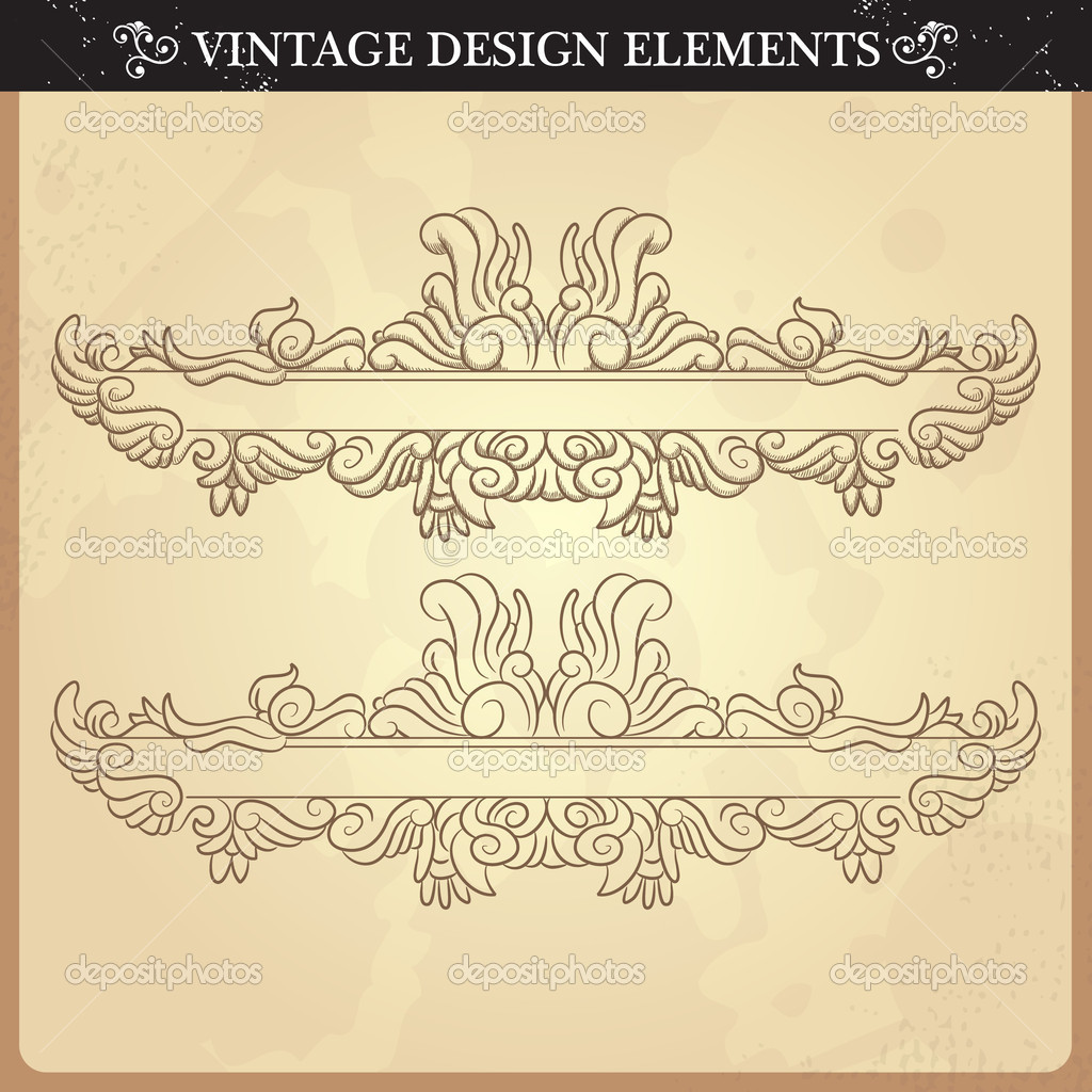 Vintage ornament set. Vector illustration  Stock Vector #12330479