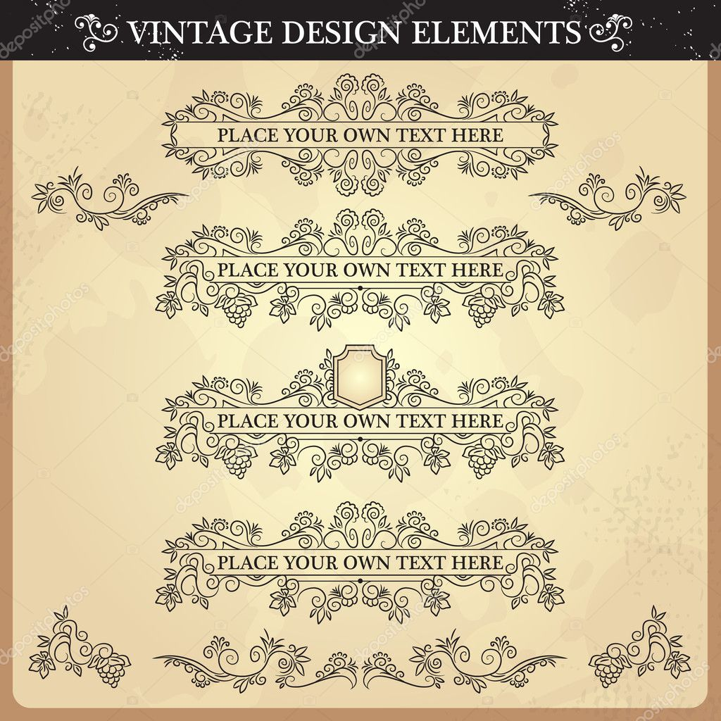 Vintage ornament set. Vector illustration — Stock Vector #12330498
