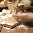 Detail of hands kneading dough — Stock Photo