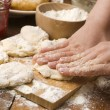 Detail of hands kneading dough — Stock Photo #11879319
