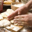 Detail of hands kneading dough — Stock Photo #12032269