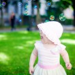 Playing Outdoors With Soup Bubbles — Stock Photo