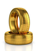 Golden tyre — Stock Photo