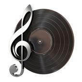 Vinyl Record With Music Key — Stock Photo