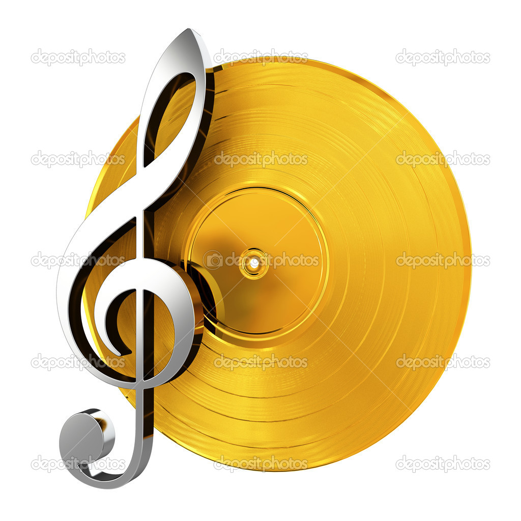 3d render of golden vinyl record with music key  Stock Photo #10966982