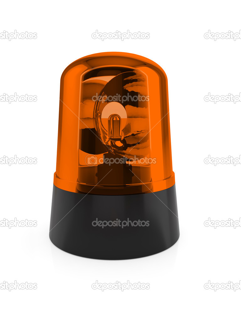3d render of orange flashing light on a white background  Stock Photo #11267163