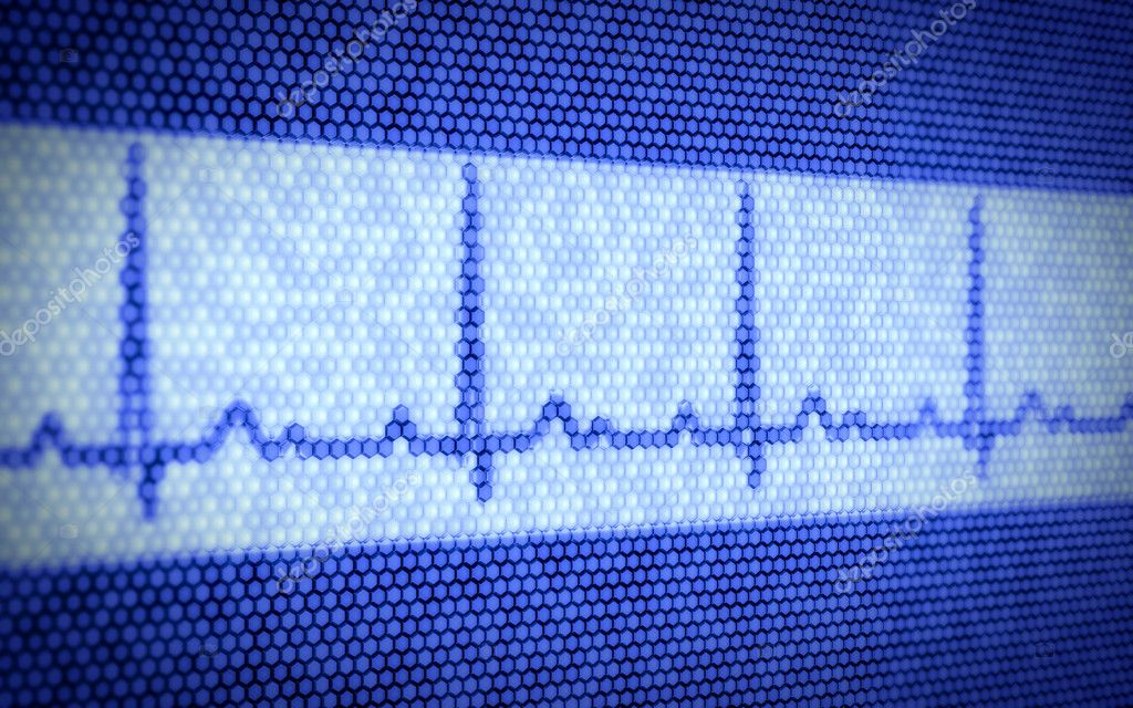 3d illustration of heartbeat on computer screen  Stock Photo #12014604