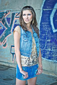 Beautiful young woman. Street fashion — Stock Photo