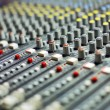 Stock Photo: Audio mixer mixing board fader and knobs
