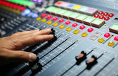 Part of an audio sound mixer — Stock Photo