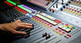 Part of an audio sound mixer — Stock Photo