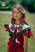 Young woman emotion portrait. Ethnic style — Stock Photo