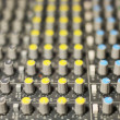 Audio mixer mixing board fader and knobs — Stock Photo