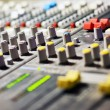Audio mixer mixing board fader and knobs — Stockfoto