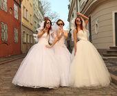 Running brides — Stock Photo