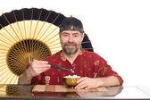 Europejskiej w strój chińskie jedzenie ryżu — Zdjęcie stockowe
