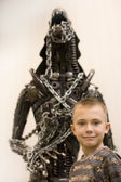 Boy with fantastic monster — Stock Photo
