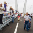 Celebrating the opening of bridge in Vladivostok, Russia. - Stock Photo