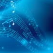 Blue abstract background with music notes - vector — Stock Vector #10759880