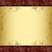 Floral frame with gold and brown background - vector — Stock Vector