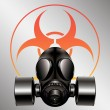 Black gas mask with biohazard symbol - vector — Stock Vector