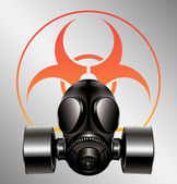 Black gas mask with biohazard symbol - vector — Stock Vector