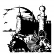 Old dark gloomy castle - vector - Stock Vector