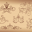 Brown floral design elements - vector set — Stock Vector #11501524