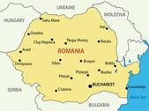 Rumania - mapa del vector — Vector de stock