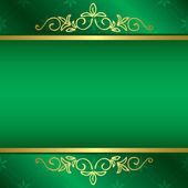 Bright green card with floral gold decorations - vector — Stock Vector
