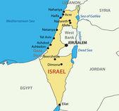 Estado de israel - mapa del vector — Vector de stock