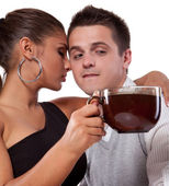 Man and woman with cup of tea — Stock Photo