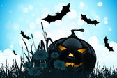 Halloween Background with Flowers and Pumpkin — Stock Vector