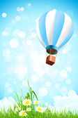 Flowers in the Grass and Hot Air Balloon in the Sky — Stock Vector