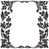 Abstract floral decorative black frame vector illustration — Stock Vector