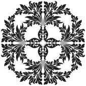 Abstract floral decorative element in black color vector illustr — Stock Vector