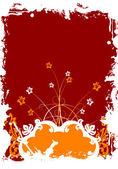 抽象 grunge 花卉帧 — 图库矢量图片