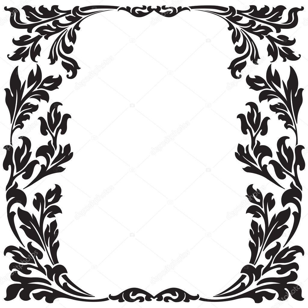 Black Flower Decorative Frame Vectors Material 04 Free: Abstract Floral Decorative Black Frame Vector Illustration