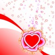 Abstract St. Valentine card with flowers heart shapes and circle — Image vectorielle