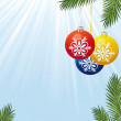 Background with Christmas tree branch and toys - Imagen vectorial
