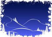 モミの木の雪とサンタ グランジ冬の背景 — ストックベクタ