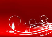 Abstract winter background with firtree silhouettes and Santa Cl — 图库矢量图片
