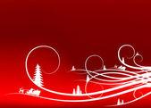 Abstracte winter achtergrond met firtree silhouetten en santa cl — Stockvector